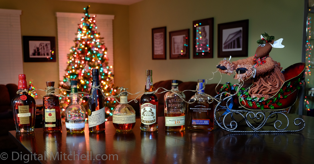 picture of bourbon bottles pulling a sleigh
