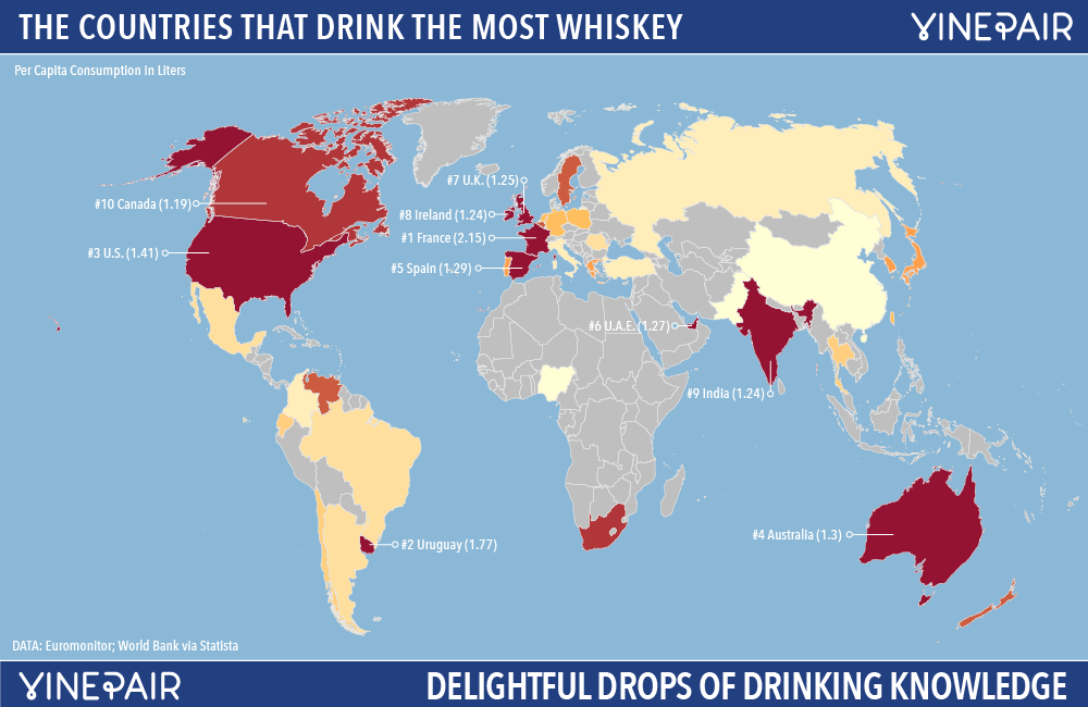 Image of countries that drink bourbon